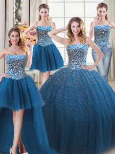 Four Piece Floor Length Lace Up Quinceanera Gown Teal for Military Ball and Sweet 16 and Quinceanera with Beading