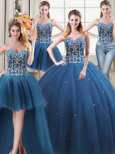 Eye-catching Four Piece Teal Ball Gowns Beading Quinceanera Gown Lace Up Tulle Sleeveless Floor Length