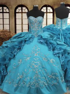Decent Floor Length Ball Gowns Sleeveless Teal Sweet 16 Dresses Lace Up
