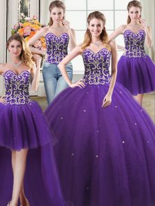 Four Piece Purple 15 Quinceanera Dress Military Ball and Sweet 16 and Quinceanera with Beading Sweetheart Sleeveless Lace Up