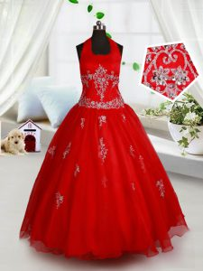 Customized Red Little Girls Pageant Dress Wholesale Quinceanera and Wedding Party with Beading and Appliques Halter Top Sleeveless Lace Up