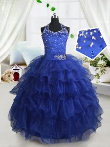Halter Top Sleeveless Floor Length Beading and Ruffled Layers Lace Up Little Girl Pageant Gowns with Royal Blue