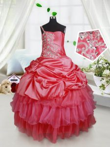 Simple Sleeveless Organza and Taffeta Floor Length Lace Up Kids Pageant Dress in Red with Beading and Ruffled Layers