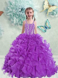 Simple Straps Eggplant Purple Ball Gowns Beading and Ruffles Kids Formal Wear Lace Up Organza Sleeveless Floor Length