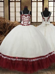 Straps Sleeveless Satin and Organza Pageant Gowns For Girls Beading Lace Up