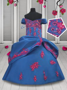 Latest Pick Ups Ball Gowns Child Pageant Dress Blue Off The Shoulder Taffeta Sleeveless Floor Length Lace Up