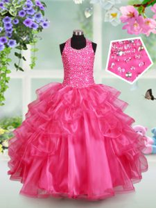 Attractive Halter Top Sleeveless Beading and Ruffled Layers Lace Up Little Girl Pageant Gowns