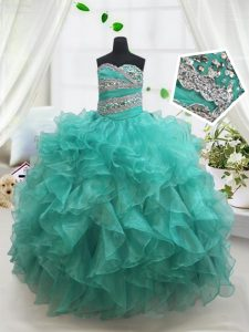 Superior Floor Length Turquoise Kids Formal Wear Organza Sleeveless Beading and Ruffles