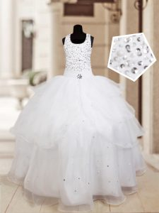 On Sale Halter Top Ruffled White Sleeveless Organza Lace Up Child Pageant Dress for Quinceanera and Wedding Party