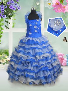 Custom Design Blue And White Child Pageant Dress Quinceanera and Wedding Party with Beading and Appliques and Ruffled Layers Halter Top Sleeveless Lace Up