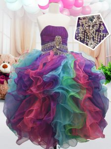 Sleeveless Organza Floor Length Zipper Pageant Gowns For Girls in Multi-color with Beading and Ruffles
