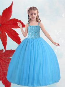 Wonderful Baby Blue Straps Lace Up Beading Girls Pageant Dresses Sleeveless