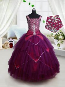 Wonderful Dark Purple Tulle Lace Up Square Sleeveless Floor Length Kids Pageant Dress Beading and Ruffles and Belt