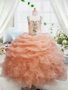 Straps Sleeveless Floor Length Beading and Ruffles and Pick Ups Zipper Girls Pageant Dresses with Orange