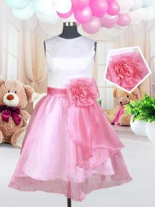 Amazing Scoop Organza Sleeveless Mini Length Child Pageant Dress and Hand Made Flower