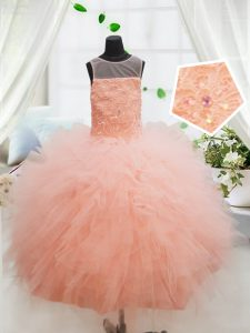 Peach Ball Gowns Scoop Sleeveless Tulle Floor Length Zipper Beading and Lace and Ruffles Child Pageant Dress