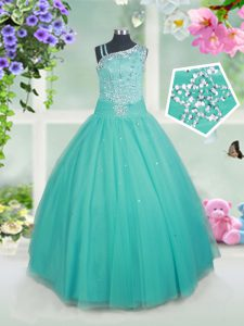 Floor Length Turquoise Girls Pageant Dresses Tulle Sleeveless Beading