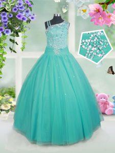 Floor Length Turquoise Girls Pageant Dresses Tulle Sleeveless Beading