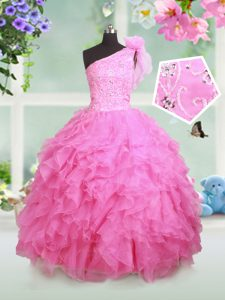 2d27c0b7229 Most Popular One Shoulder Rose Pink Ball Gowns Beading and Ruffles and Hand  Made Flower Little