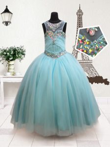 Scoop Floor Length Zipper Pageant Gowns For Girls Aqua Blue for Quinceanera and Wedding Party with Beading