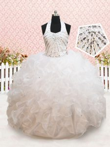Trendy Halter Top White Ball Gowns Beading and Ruffles Little Girls Pageant Dress Wholesale Lace Up Organza Sleeveless Floor Length