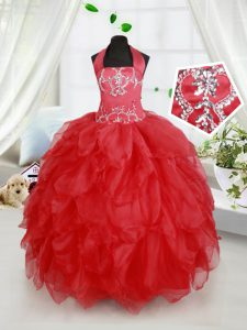 Lovely Halter Top Sleeveless Floor Length Beading and Ruffles Lace Up Little Girls Pageant Gowns with Red
