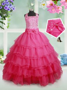 Eye-catching Hot Pink Zipper Halter Top Beading and Ruffled Layers and Bowknot Girls Pageant Dresses Organza Sleeveless