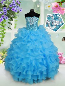 Baby Blue Ball Gowns Beading and Ruffled Layers and Sequins Little Girl Pageant Gowns Lace Up Organza Sleeveless Floor Length