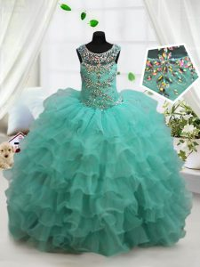 Scoop Organza Sleeveless Floor Length Little Girls Pageant Dress and Beading and Ruffled Layers