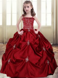 Latest Wine Red Little Girls Pageant Dress Quinceanera and Wedding Party with Beading and Pick Ups Spaghetti Straps Sleeveless Lace Up