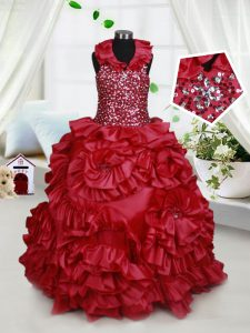 Luxurious Wine Red Taffeta Zipper Halter Top Sleeveless Floor Length Kids Pageant Dress Beading and Ruffles and Sequins