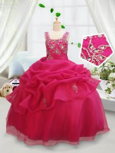 Eye-catching Square Sleeveless Floor Length Beading and Pick Ups Zipper Little Girl Pageant Dress with Hot Pink