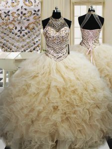 Modest Tulle Halter Top Sleeveless Lace Up Beading and Ruffles Sweet 16 Dress in Champagne