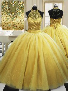 Fashion With Train Yellow Quinceanera Gown High-neck Sleeveless Sweep Train Lace Up