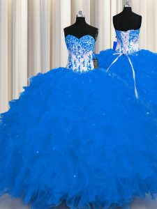 Latest Floor Length Ball Gowns Sleeveless Royal Blue Quince Ball Gowns Lace Up