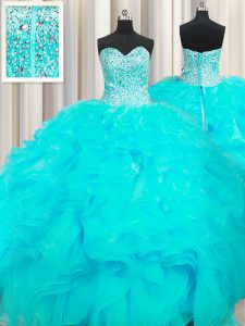 Custom Made Visible Boning Beaded Bodice Aqua Blue Sleeveless Floor Length Beading and Ruffles Lace Up Sweet 16 Quinceanera Dress