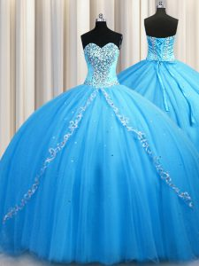 Brush Train Baby Blue Sweetheart Neckline Beading Ball Gown Prom Dress Sleeveless Lace Up