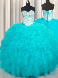 On Sale Sweetheart Sleeveless Lace Up Vestidos de Quinceanera Aqua Blue Tulle