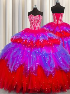 Bling-bling Visible Boning Floor Length Multi-color Quince Ball Gowns Tulle Sleeveless Beading and Ruffles and Ruffled Layers and Sequins