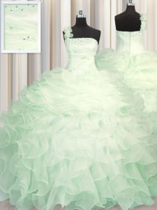 Free and Easy One Shoulder Floor Length Zipper Sweet 16 Dress Apple Green for Military Ball and Sweet 16 and Quinceanera with Beading and Ruffles