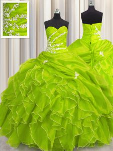 New Style Sweetheart Neckline Beading and Appliques and Ruffles Quince Ball Gowns Sleeveless Lace Up