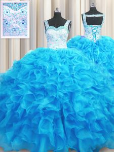 Aqua Blue Organza Lace Up Vestidos de Quinceanera Sleeveless Floor Length Beading and Ruffles