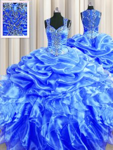 High Quality Zipper Up See Through Back Straps Sleeveless 15th Birthday Dress Floor Length Beading and Ruffles and Pick Ups Blue Organza