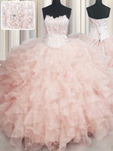 Visible Boning Floor Length Peach Ball Gown Prom Dress Scalloped Sleeveless Lace Up
