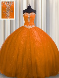 Rust Red Lace Up Sweetheart Beading and Appliques Sweet 16 Dresses Tulle and Sequined Sleeveless Court Train