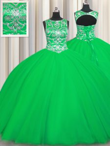 Stylish Green Tulle Lace Up Scoop Sleeveless Floor Length Quinceanera Dresses Beading