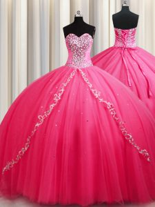 On Sale Hot Pink Lace Up Sweetheart Beading Sweet 16 Dresses Tulle Sleeveless Brush Train