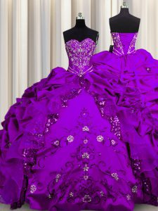Sequins Purple Sweet 16 Quinceanera Dress Military Ball and Sweet 16 and Quinceanera with Beading and Embroidery and Ruffles Sweetheart Sleeveless Lace Up