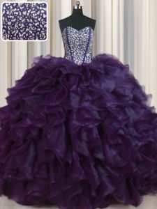 Dynamic Visible Boning Bling-bling Dark Purple Lace Up Sweet 16 Dress Beading and Ruffles Sleeveless With Brush Train
