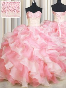Stylish Visible Boning Two Tone Pink And White Sleeveless Floor Length Beading and Ruffles Lace Up Sweet 16 Dress